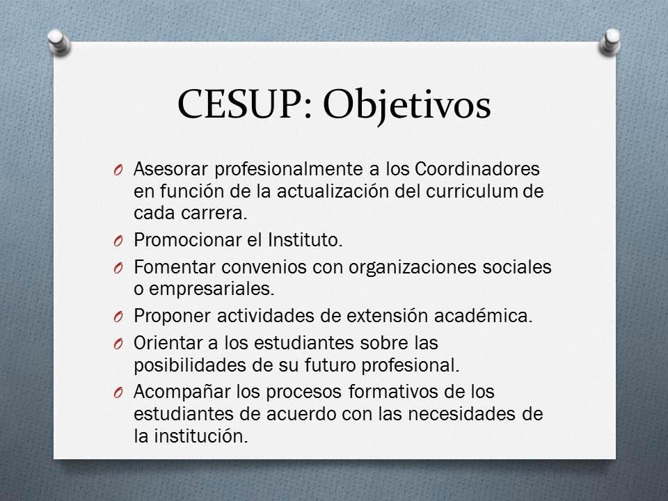 Objetivos CESUP